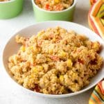 Multiple servings of low-carb spicy Mexican Fiesta Cauliflower Rice | BoulderLocavore.com
