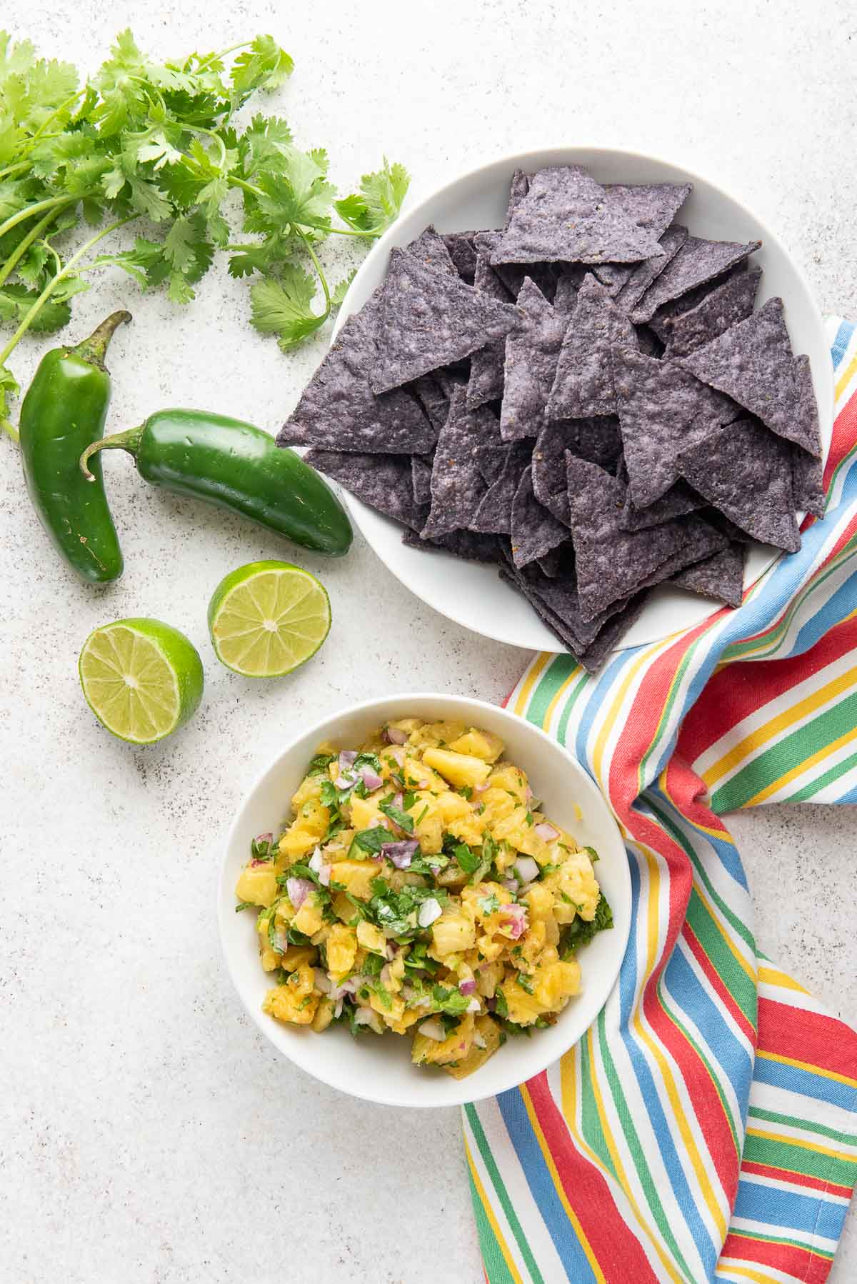 pineapple salsa with chips overhead