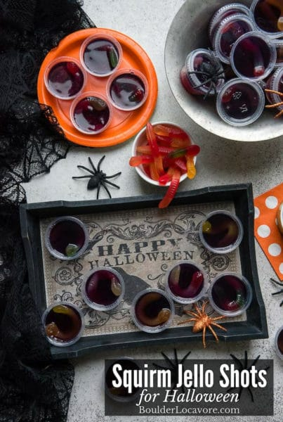 Squirm Jello Shots with worms for Halloween title image
