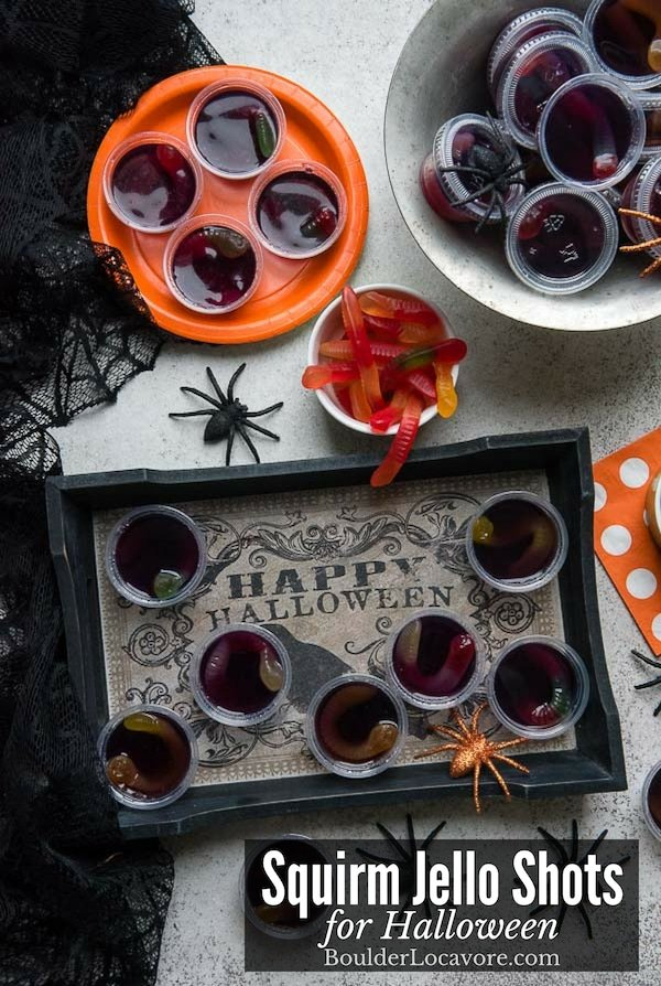 Squirm Jello Shots are an easy recipe for a boozy Halloween Party treat. Three ingredients are all you need for this cringey edible cocktail. Mocktail option included! #Halloween #jelloshots #halloweenparty #easyrecipe