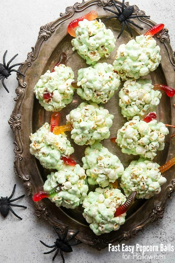 Creepy Green Fast Easy Popcorn Balls with gummy worms for Halloween BoulderLocavore.com