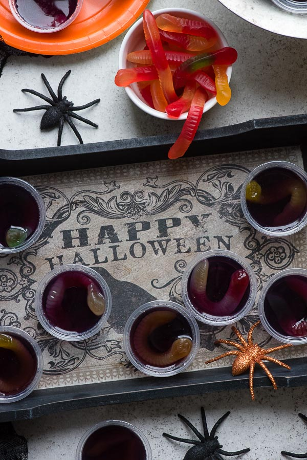 Halloween tray of grape Squirm Jello Shots with gummy worms inside BoulderLocavore.com