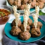 Thai Chicken Meatballs with vintage Buddha cocktail sticks and Sweet-Spicy dipping sauce - BoulderLocavore.com