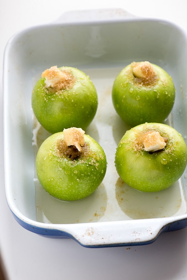Stuffed Granny Smith apples with Demerara sugar and butter in Tuscan Baked Apples Boffoli BoulderLocavore.com