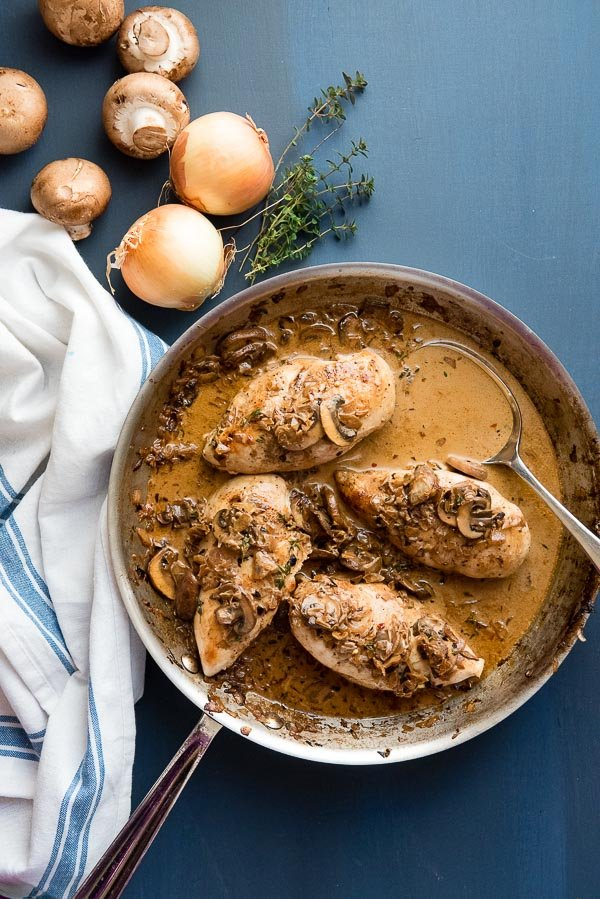 Balsamic Chicken Breast with Creamy Mushroom Sauce in stainless steel skillet with French white and blue kitchen towel BoulderLocavore.com