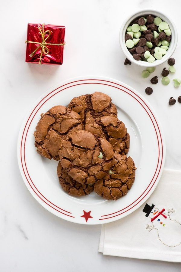 Chocolate Mint Truffle Cookies on a red rimmed white plate with snowman napkin BoulderLocavore.com