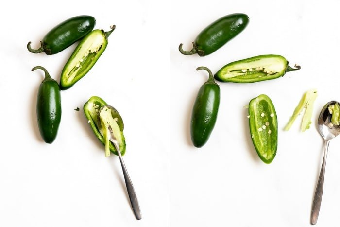 how to remove seeds from jalapeno peppers photo collage