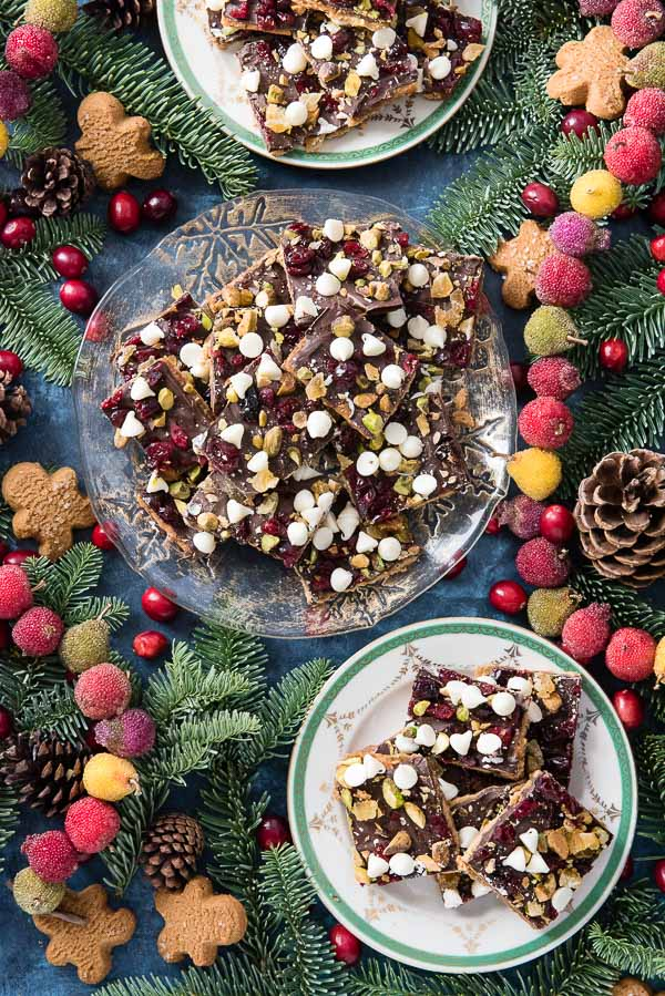 Two plates of gluten-free Christmas Crack cracker toffee