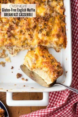 Overnight Gluten-Free English Muffin Breakfast Casserole