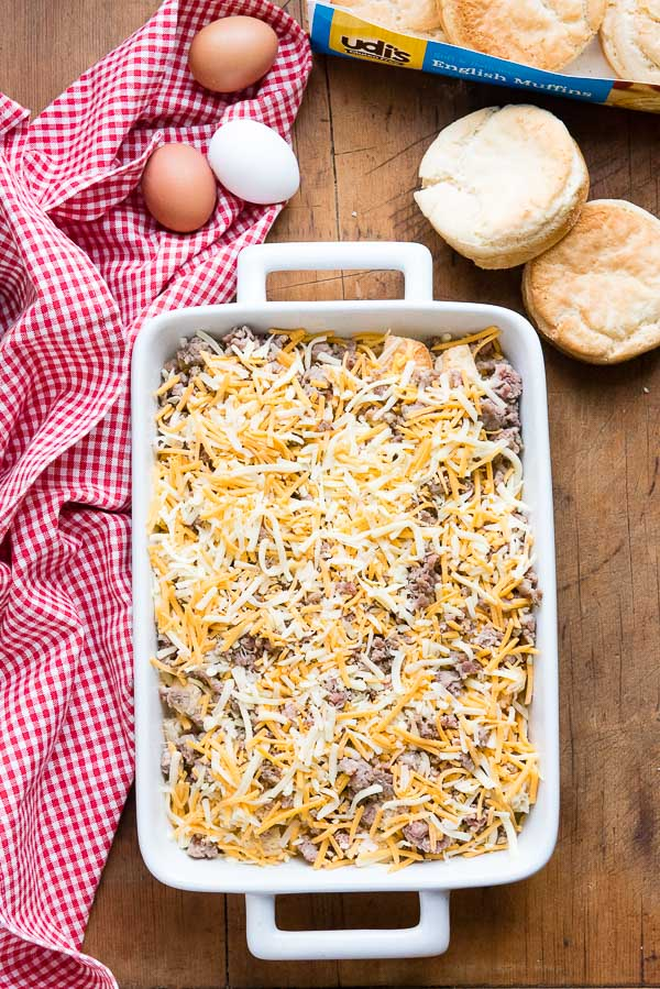 Cheesy Overnight Gluten-Free English Muffin Breakfast Casserole - before baking BoulderLocavore.com