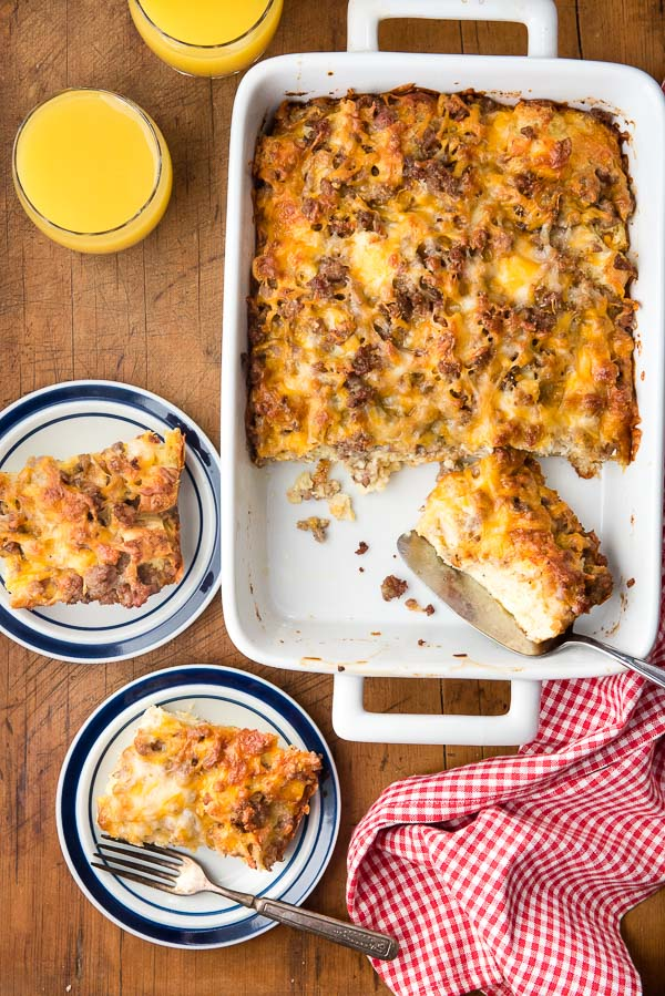 Easy cheesy Two servings cheesy Overnight Gluten-Free English Muffin Breakfast Casserole with orange juice - BoulderLocavore.com