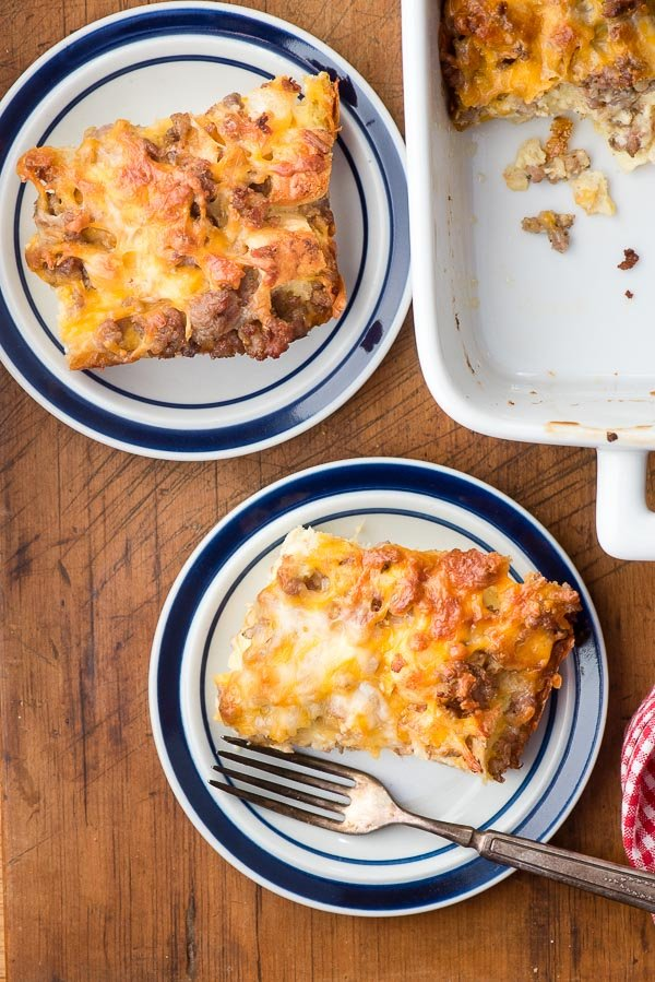 Two servings cheesy Overnight Gluten-Free English Muffin Breakfast Casserole - BoulderLocavore.com