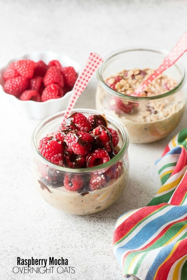 Raspberry Mocha Overnight Oats with French gingham spoons in glass containers BoulderLocavore.com
