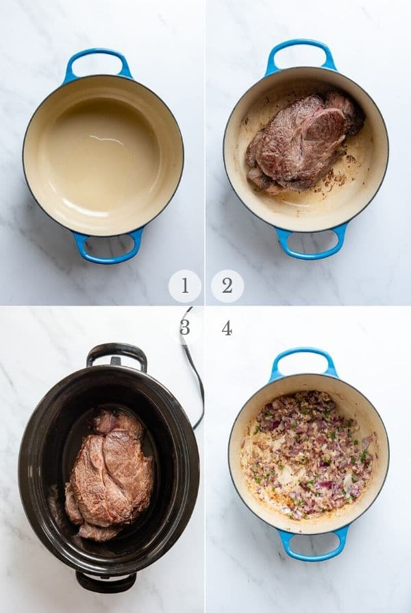 slow cooker pot roast recipe steps process steps collage 1