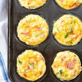 Freshly baked Muffin Tin Denver Omelets in muffin tin