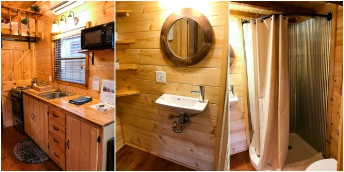 the Hobbit House bathroom, shower stall and kitchen