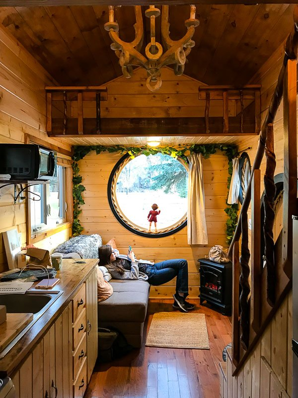 Inside of the Hobbit House Tiny House with wooden interior