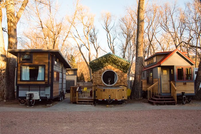Three Tiny Houses at WeeCasa Resort at dawn