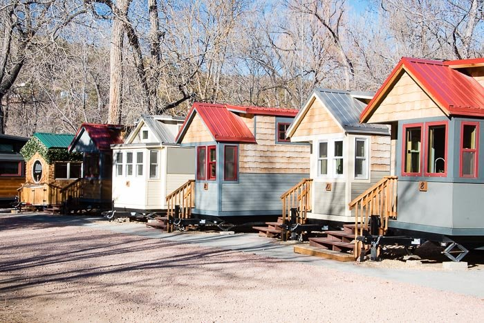 Row of Tiny Houses at WeeCasa Resort Lyons CO