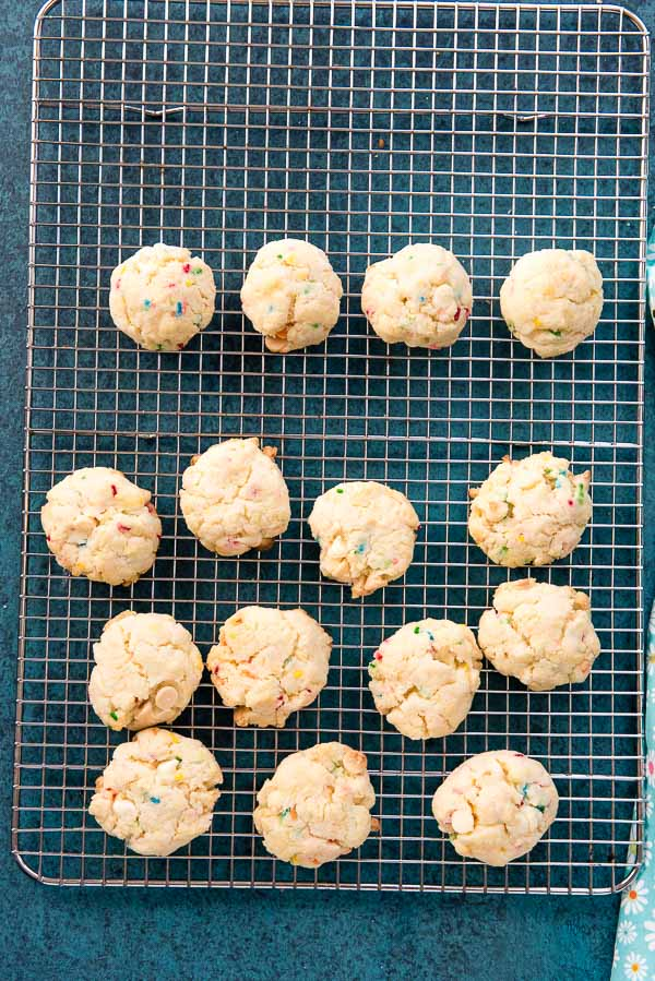 Gluten-free Cake Mix Funfetti Cookies cooling on a rack