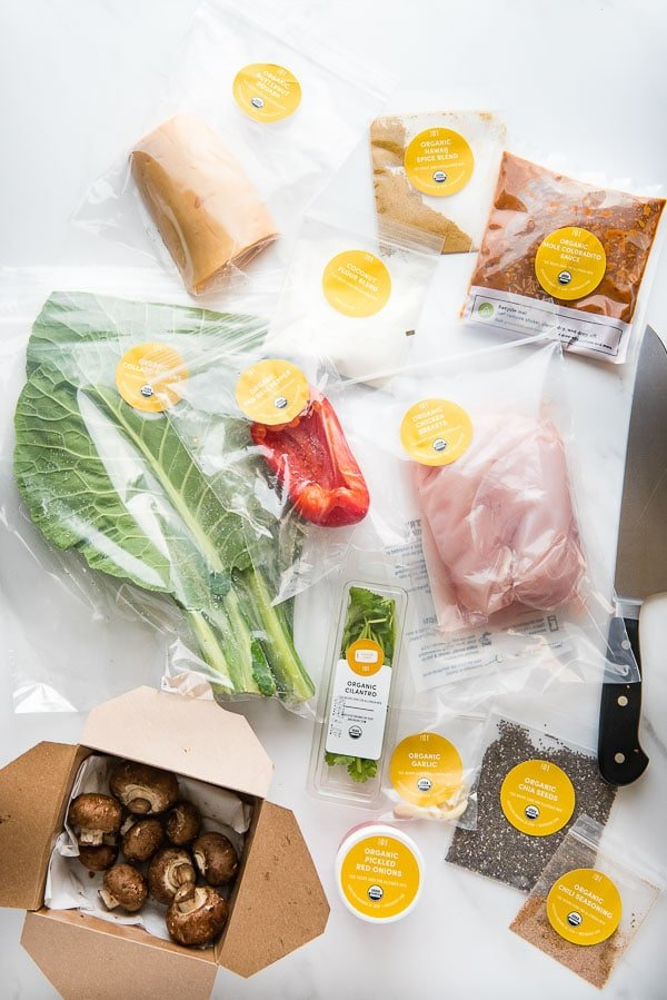 Color-codes individual ingredients for Green Chef meal delivery service paleo mole-roasted chicken