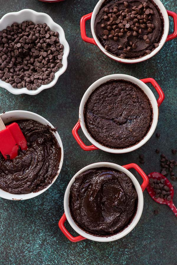 Rich Chocolate Cherry Brownie Pots with chocolate ganache and mini chocolate chips - allergy-friendly