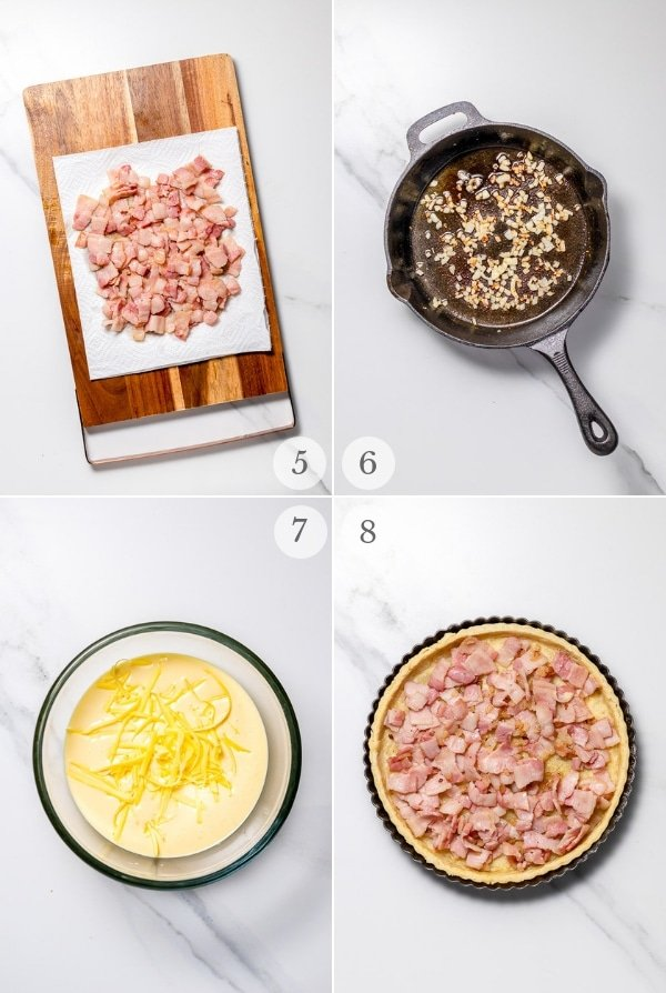 Quiche Lorraine recipe process steps photo collage 2