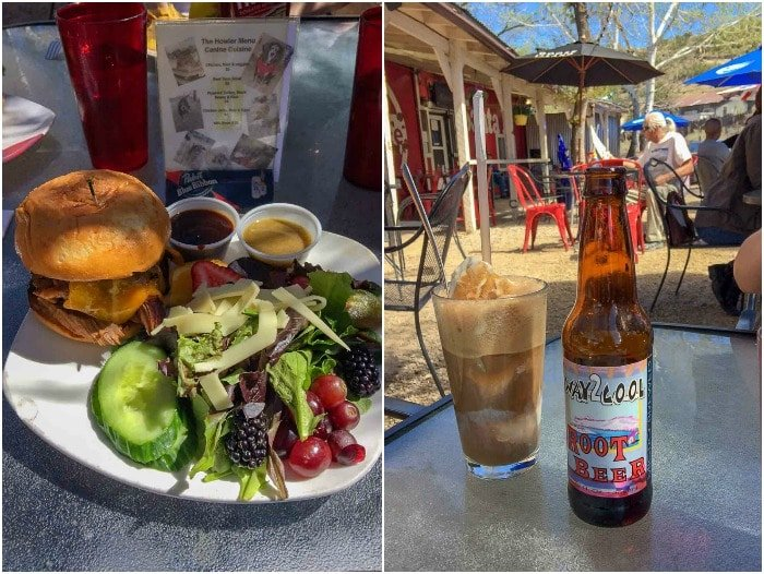 Half pound burger with salad and locally made NM root beer at The Hollar