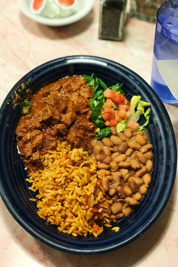 Carne Adovada with rice and beans at The Pantry Restaurant Santa Fe NM