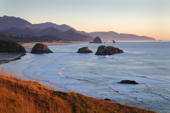Cannon Beach Oregon at dusk