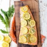 Charred Cedar Plank Salmon with Lemon and Dill