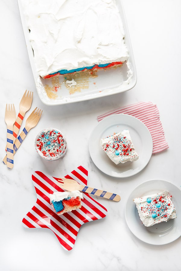 Red White and Blue Cake with whipped cream and sprinkles on a red striped plate