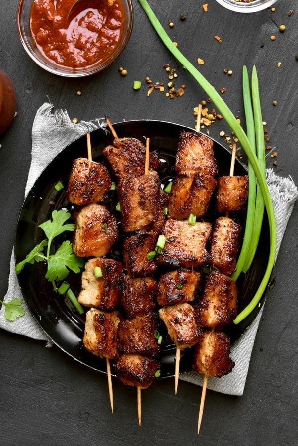 Pork Kabob recipe with scallions