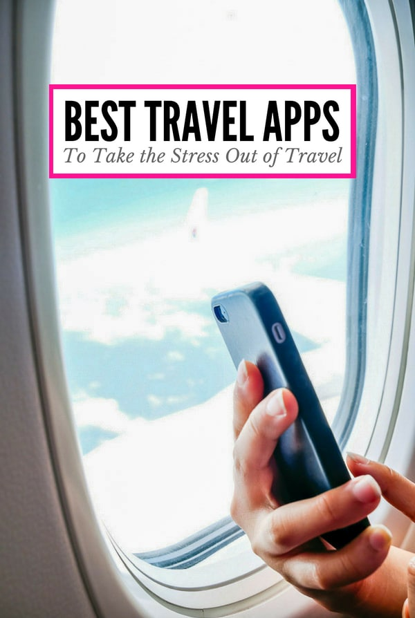 Airplane window and cell phone (title text for Best Travel Apps)