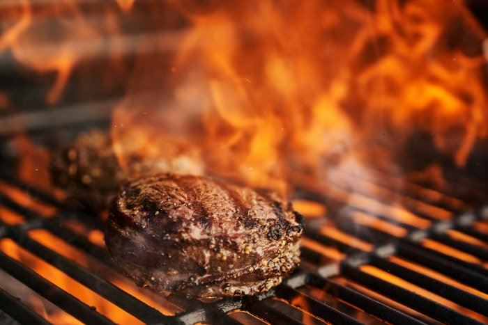 Grilling Filet Mignon with flames