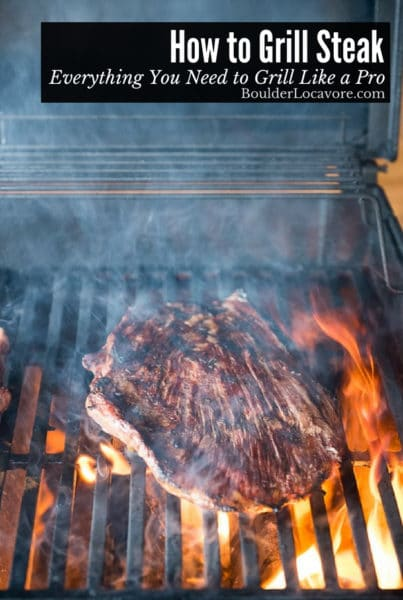 How to Grill Steak guide title (steak on grill)