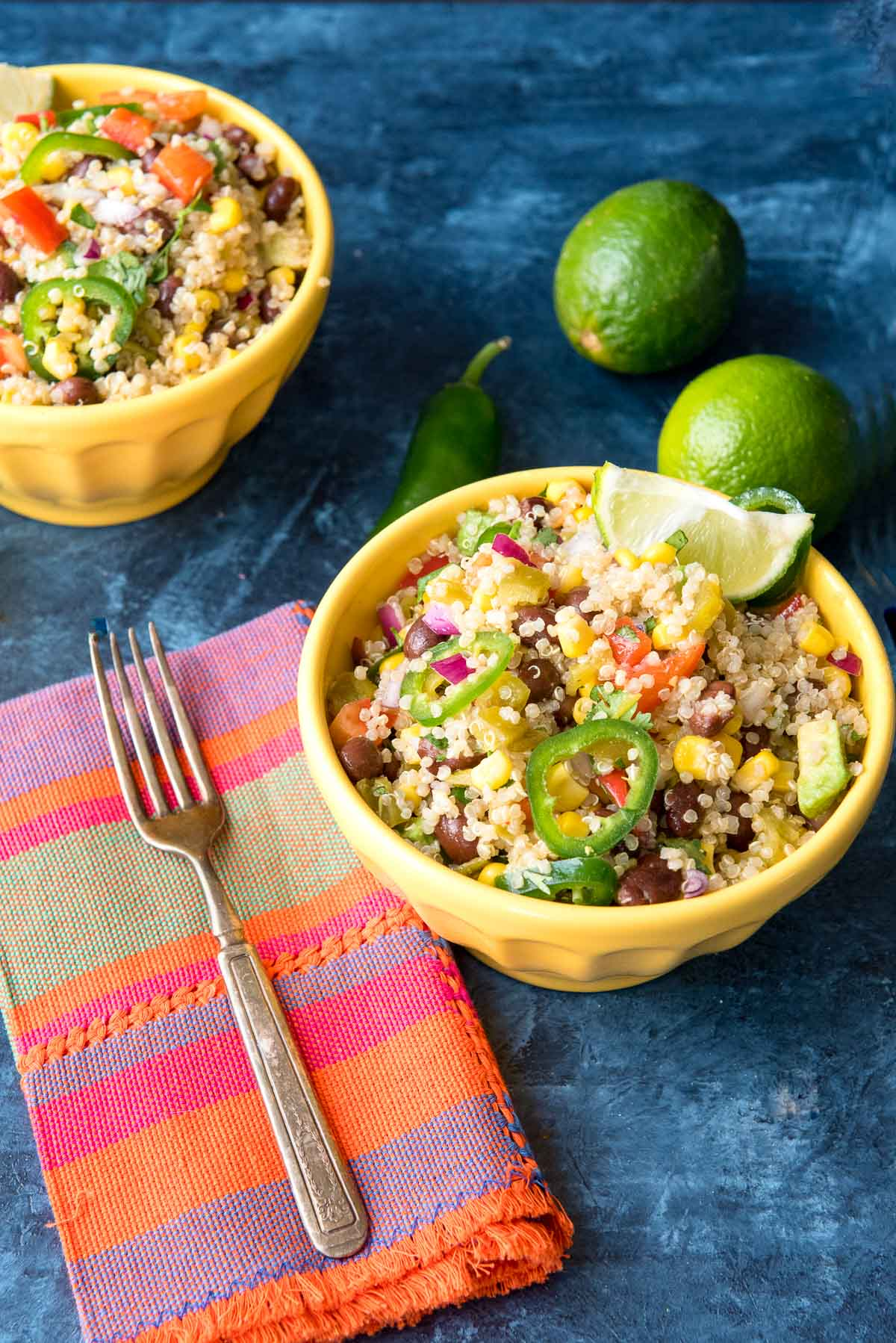Mexican quinoa in yellow bowl side