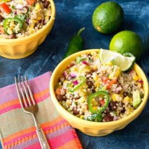 Mexican quinoa in yellow bowl square