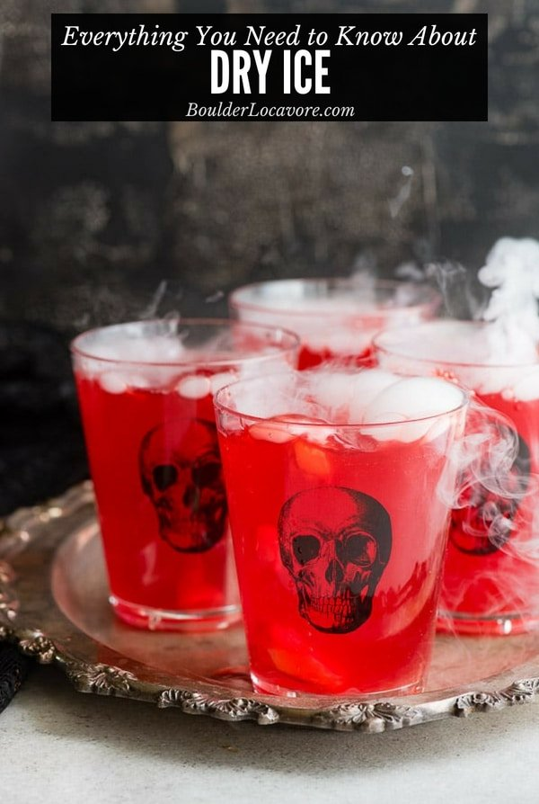 Dry Ice adds a spooky touch to drinks and decor especially for Halloween. This guide tells you everything about where to buy it, how to use it, how to store it and more. It has to be handled specially and this will tell you all you need to know! #dryice #halloween #halloweenparty #smoke #howto #guide #tutorial