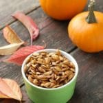 Roasted Pumpkin Seeds in small bowl