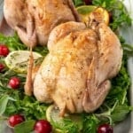 Cornish Hens on platter with title overlay