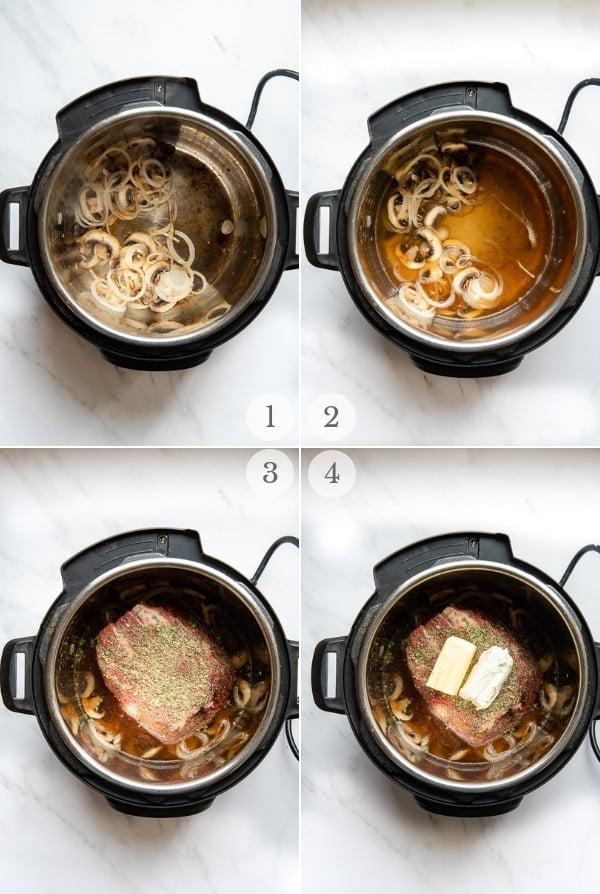 Creamy Mushroom Instant Pot Pot Roast recipe steps 1-4