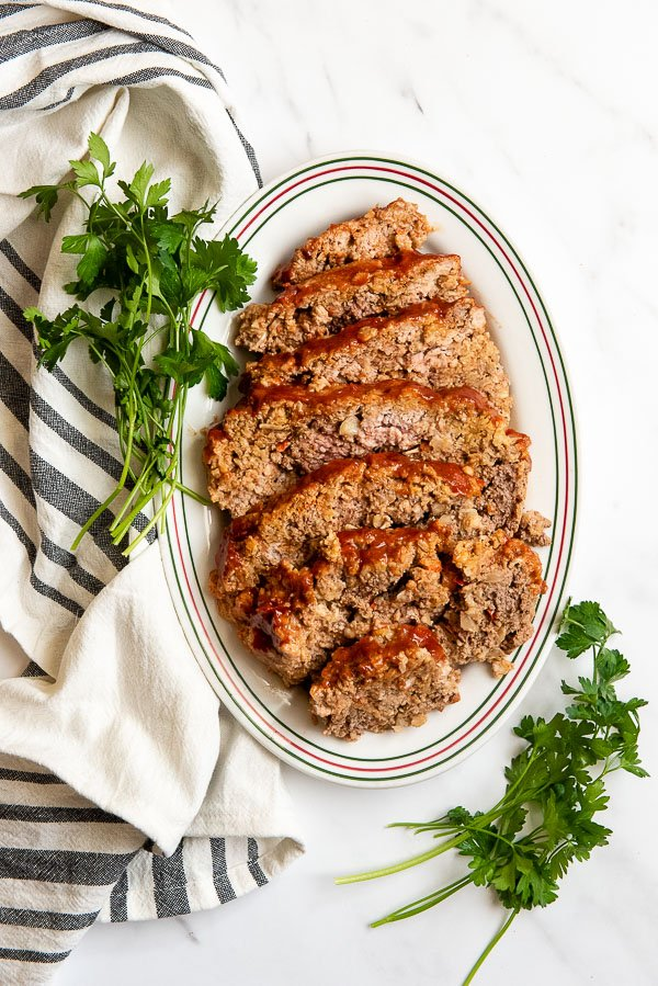 Platter of Instant Pot Meatloaf slices