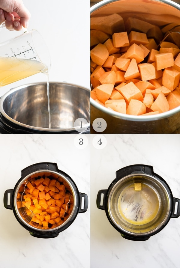 Mashed Instant Pot Sweet Potatoes preparation steps 1-4 collage