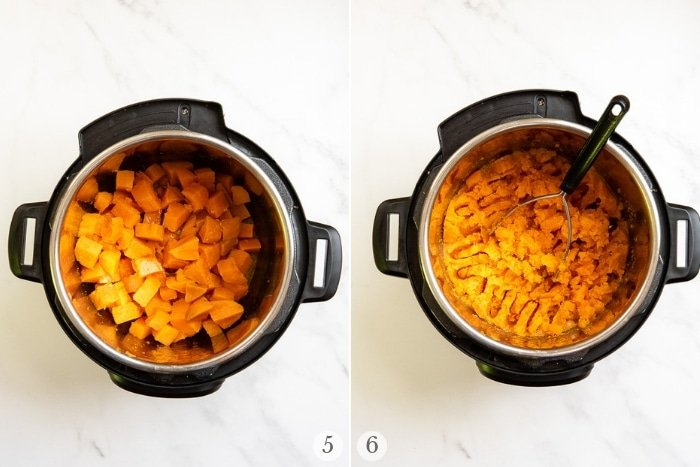 Mashed Instant Pot Sweet Potatoes preparation steps 5-6 collage