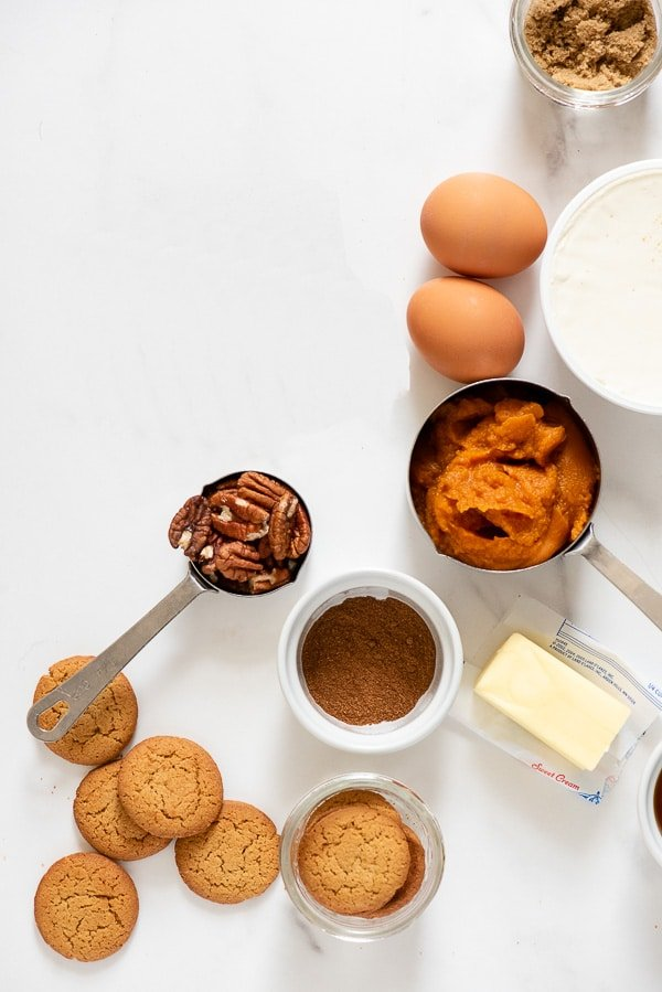 ingredients for mini pumpkin pie cheesecakes