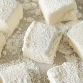 Homemade Marshmallows on powder sugar surface
