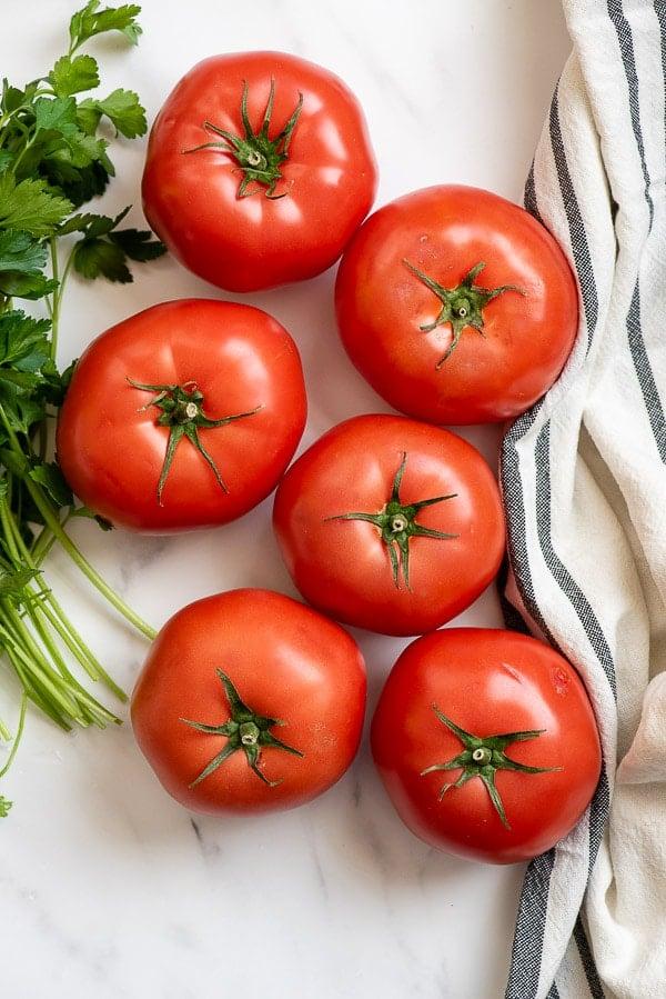 fresh tomatoes and Italian Parsley