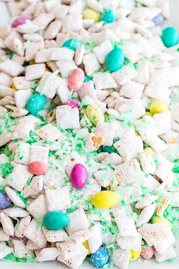 Easter Muddy Buddies on a platter