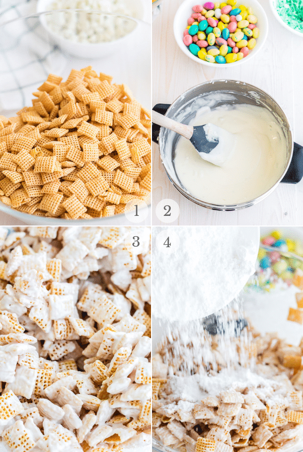 Muddy Buddies recipe process steps collage 1